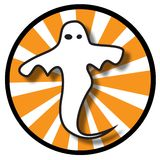 Ghost icon with orange rays Royalty Free Stock Photo