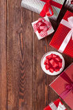 Gift boxes on wooden table Royalty Free Stock Photo