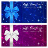 Gift certificate, Voucher, Coupon, Reward or Gift card template with sparkling, twinkling stars texture, ribbon. Dark night sky Royalty Free Stock Photography