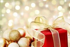 Gift van Kerstmis defocused lichtenachtergrond Royalty-vrije Stock Fotografie