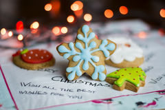 Gingerbread blue star ,green tree and strawberry  .Christmas concept Stock Photos
