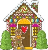 Gingerbread House and Man Royalty Free Stock Photos