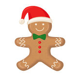 Gingerbread man is decorated colored icing  on white background. Stock Photo