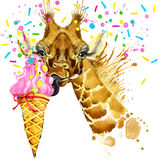 Giraffe illustration with splash watercolor textured background Royalty Free Stock Image