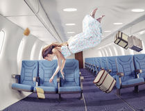 The girl in an airplane Stock Images