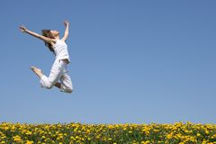 Girl in a beautiful jump Royalty Free Stock Images