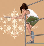 Girl decorating, painting a wall with beautiful, symmetrical, architectonic, floral decorations Royalty Free Stock Image