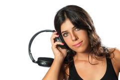 DJ Girl and Headphones Royalty Free Stock Photos
