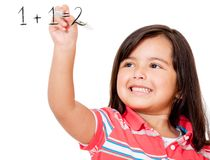 Girl learning to add Royalty Free Stock Images