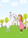Girl play dog fun Royalty Free Stock Photography