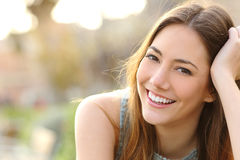 Girl smiling with perfect smile and white teeth Stock Image