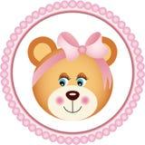 Girl Teddy Bear Sticker Stock Photography