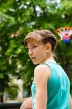 Girl about to shoot basketball Stock Photos