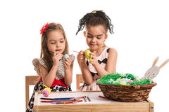 Girls painting Easter eggs Royalty Free Stock Photography