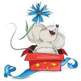 Glückliche Maus in einer roten Geschenkbox Lizenzfreie Stockbilder