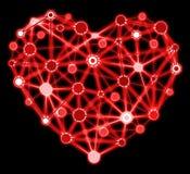 Glühendes rotes Herz mit verbundenen Punkten Lizenzfreie Stockfotografie