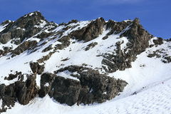 Glacier, Bellecote, Plagne Centre, Winter landscape in the ski resort of La Plagne, France Royalty Free Stock Photography
