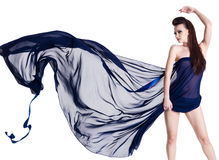 Glamour sensuality woman with chiffon Stock Images