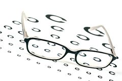 Glasses on a eye sight test chart Royalty Free Stock Photo