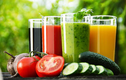 Glasses with fresh vegetable juices in the garden. Detox diet Royalty Free Stock Photo