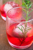 Glasses of refreshment raspberry flavour fizz Stock Photography