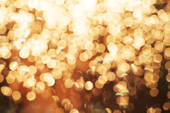 Glitter festive christmas lights background. light and gold defo Royalty Free Stock Images