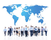Global Business Communications with World Map Royalty Free Stock Photography