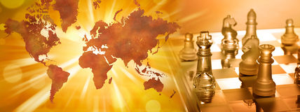 Global Business Strategy Chess Royalty Free Stock Image