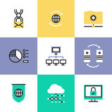Global data technology pictogram icons set Royalty Free Stock Photos