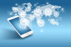 Globalização ou conceito social da rede com nova geração de telefone celular Foto de Stock