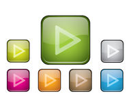 Glossy rounded square buttons with play sign Stock Photo