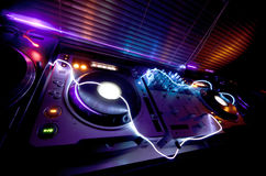 Glowing DJ Equipment Stock Photo