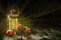 Glowing Lantern Christmas Night Royalty Free Stock Photography