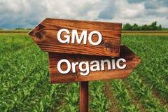 Gmo or Organic Farming Direction Sign Stock Photo