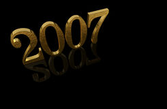 Gold 3D 2007 with reflections Stock Photography
