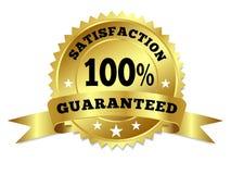Gold Badge Satisfaction Guaranteed With Ribbon Royalty Free Stock Images