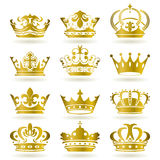 Gold crown icons set Stock Images