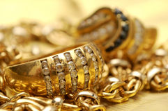 Gold and gems Stock Image