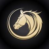 Gold horse logo. Royalty Free Stock Photography