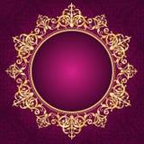 Gold ornamental frame on pinkdamask pattern invita Royalty Free Stock Photo