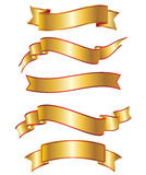 Gold ribbon banner collection set Royalty Free Stock Photo