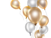 Gold and white balloons Royalty Free Stock Photo