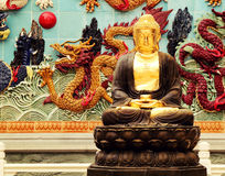 Buddha statue in Asian Chinese buddhist temple Royalty Free Stock Photo