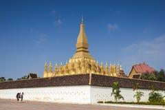 Golden pagada in Wat Pha-That Luang, Vientiane, Laos Royalty Free Stock Photo