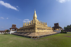Golden pagada in Wat Pha-That Luang, Vientiane Province , Laos Royalty Free Stock Photo