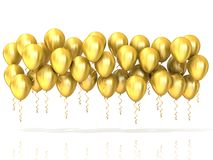 Golden party balloons row Stock Photo
