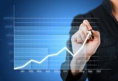 Gráfico de negócio azul que mostra o crescimento Imagem de Stock