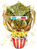 Gráficos de la camiseta del tyrannosaur del dinosaurio, acuarela del dibujo del dinosaurio Imagen de archivo