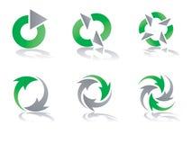 grön grå logo för designer som återanvänder vektorn Arkivbild