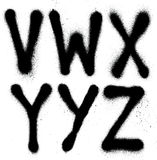 Graffiti spray paint font type (part 4) alphabet Royalty Free Stock Photos